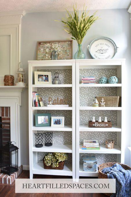 DIY, Home-Beautiful Bookcase Makeover, Painted Bookshelf, Styled Shelves, Fabric Backing, Refreshed Bookcase, Upgrade Bookcase
