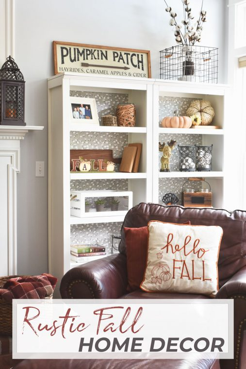 Fall styled bookshelves.