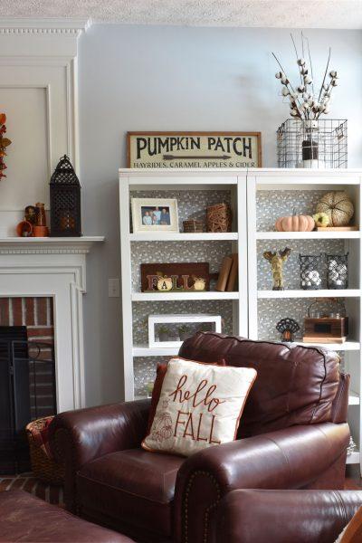 Fall Living Room, Fall Shelves, Fall Decor