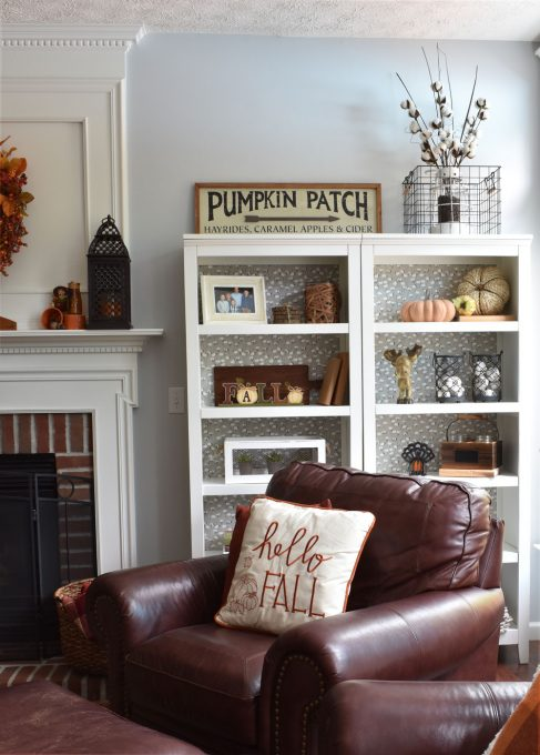 Fall Home Decor, Fall Living Room, Fall Shelves, Fall Decor