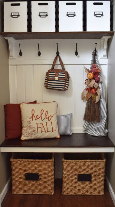 Fall Home Decor, Fall Coat Closet, Fall Bench, Fall Entry