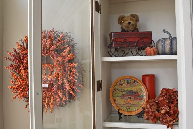 Fall Home Decor, Fall Dining Room, Fall Centerpiece, Fall Hutch, Fall Shelves