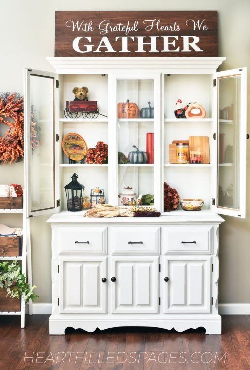 Fall styled kitchen hutch.