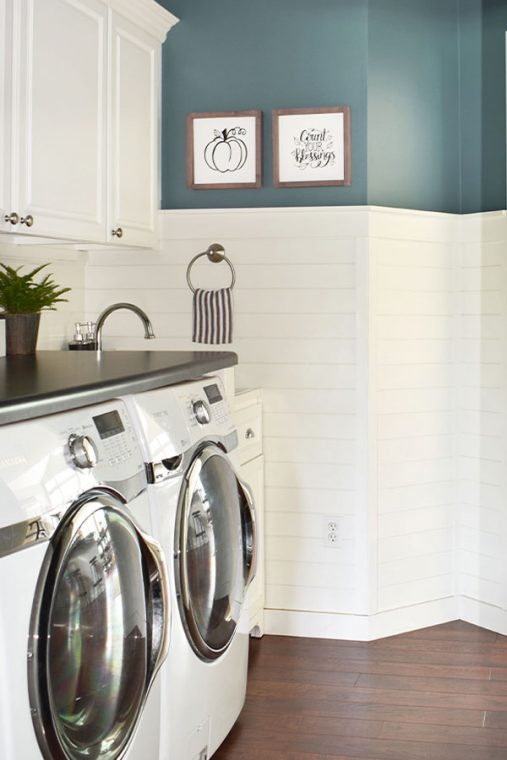 Small Laundry Room with Shiplap.