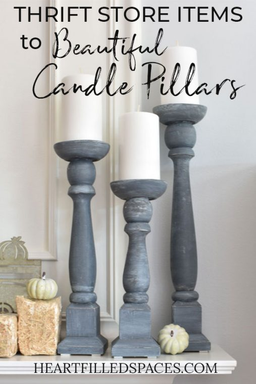 DIY Shabby Chic Gray Candle Holders