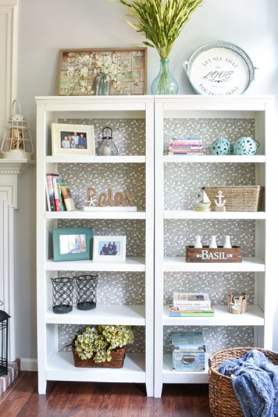 Farmhouse Style gray and white painted bookcases.