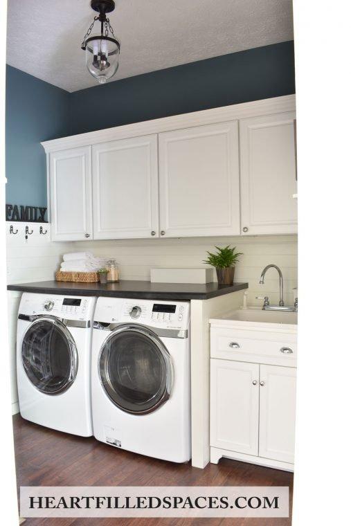 Blue and white shiplap farmhouse laundry room