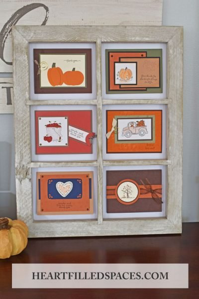 DIY, Fall Window Frame Project, Handmade Card Display, Fall Wall Art