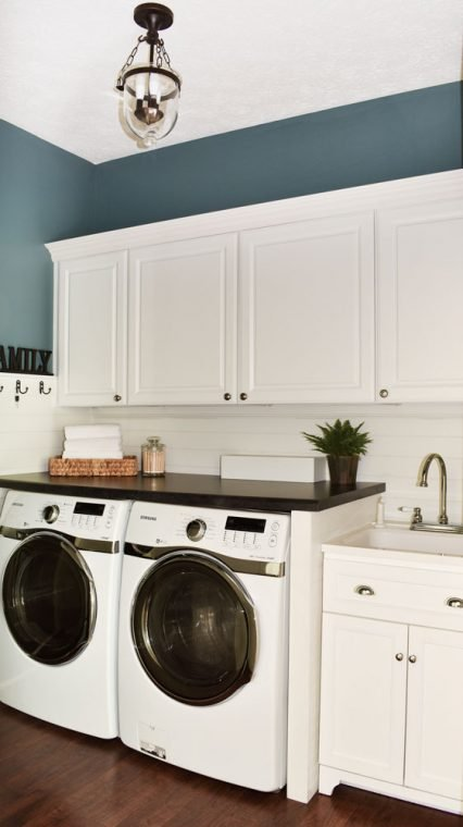 Small White Shiplap Laundry Room and Mudroom