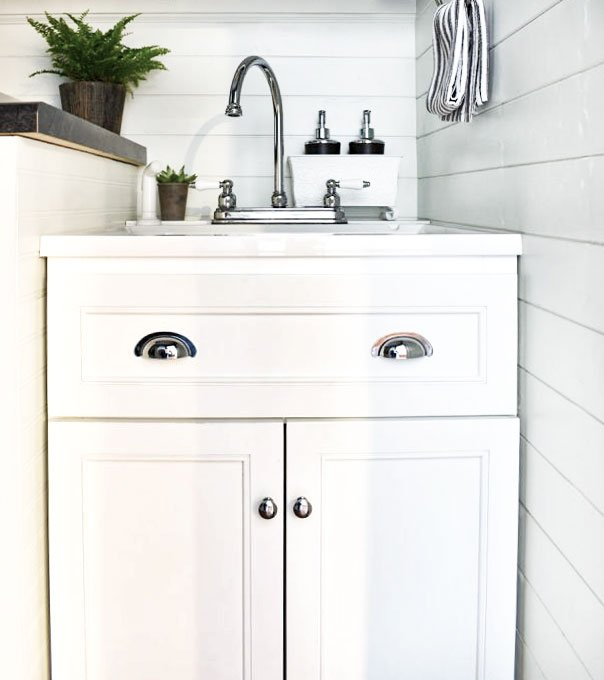 Blue and White Shiplap Laundry Room