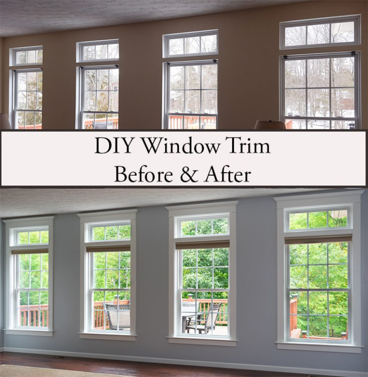 Living Room Windows Before and After Adding Window Trim