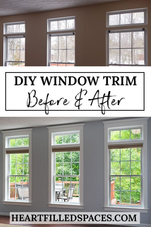 Before and after DIY window trim in living room.