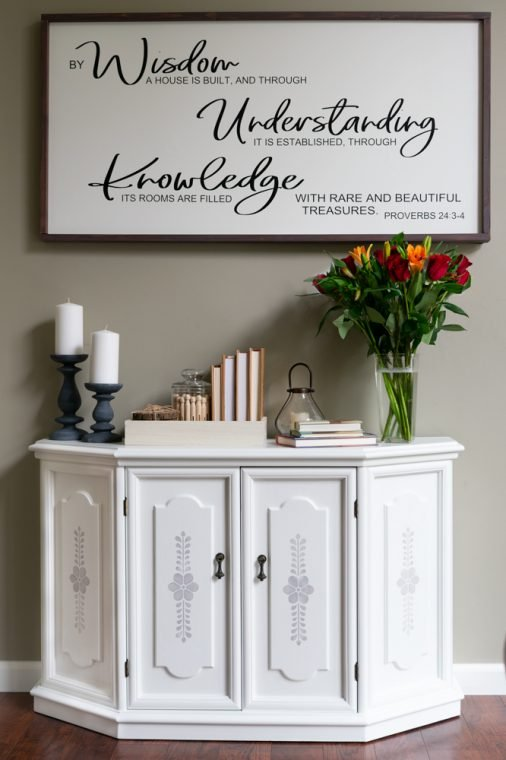 White Spray Painted Cabinet Makeover with Gray Chalk Paint Flower Stencil