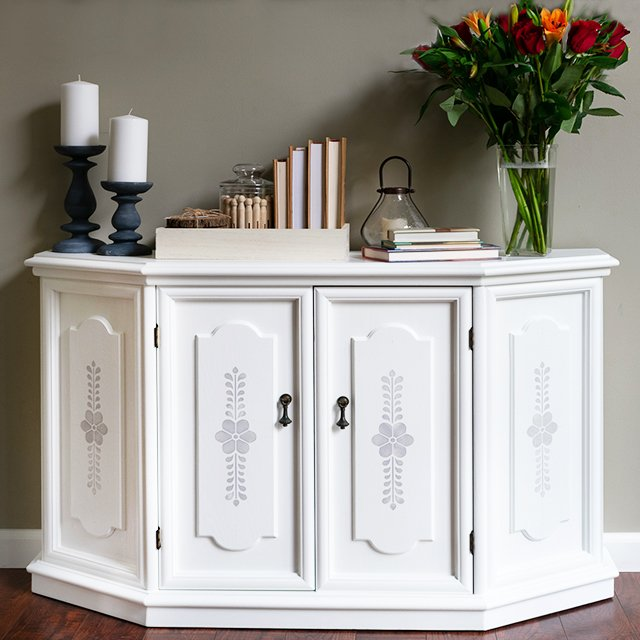 Before and After Cabinet Makeover with Chalk Paint stencil