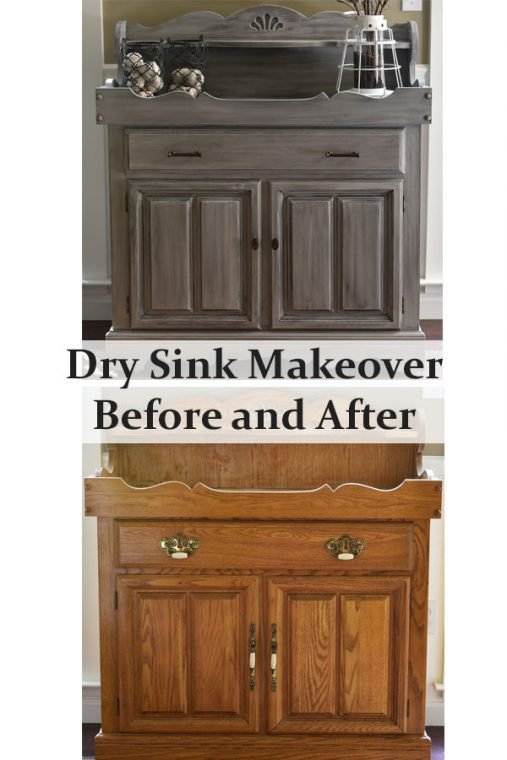 Before and After Gray Chalk Painted Dry Sink