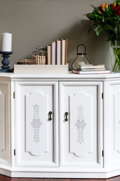 Gray and White Spray Painted Cabinet