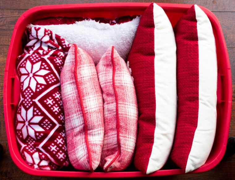 Christmas Pillows in Storage Bin