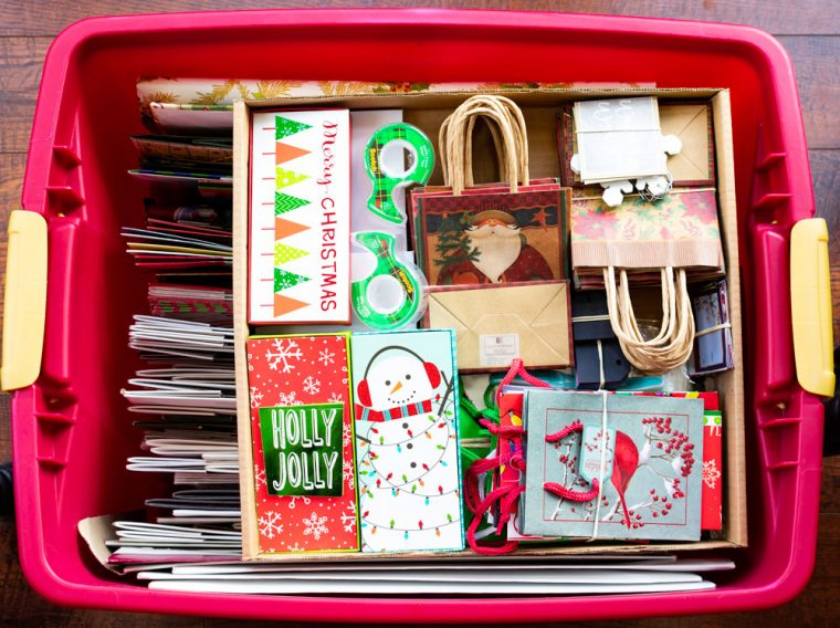 Christmas Gift Wrap in Storage Bin