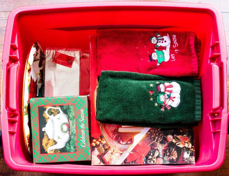 Christmas Kitchen Supplies in Storage Bin
