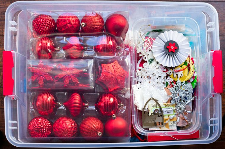 How to organize and store Christmas decorations.