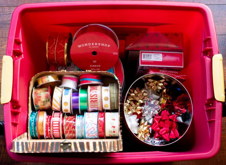 Christmas Ribbon and Bows in Storage Bin
