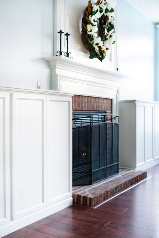 DIY living room fireplace surround with Ikea Billy Bookcases.
