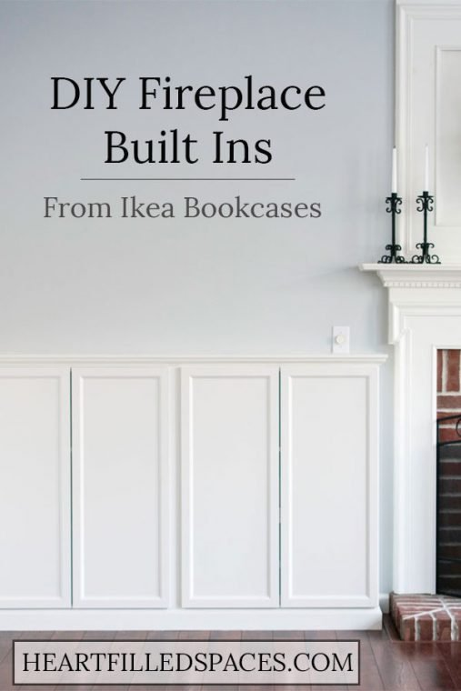 White DIY Fireplace Built Ins