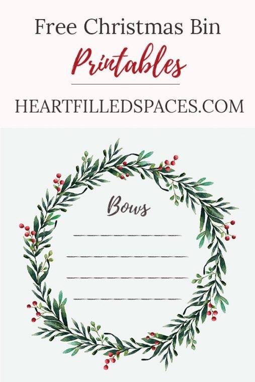Free Christmas Bin Printables