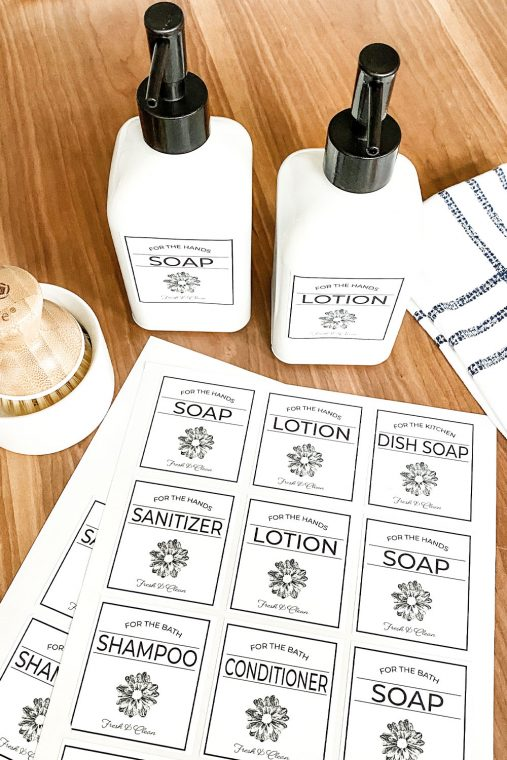 Free printable soap and lotion dispenser labels for the kitchen sink or bathroom.