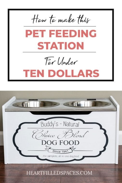 DIY Gray and White Pet Feeding Station With Food Storage