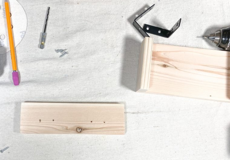 How to build a soap dispenser tray, using corner braces.