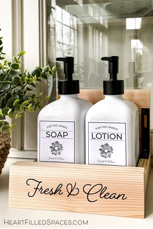 DIY kitchen soap tray, dispensers and free printable labels.