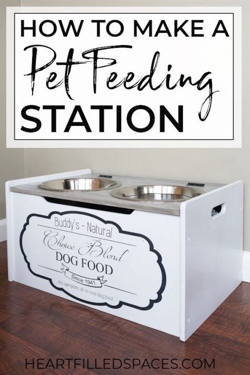 Pet Feeding Station with Black and White Farmhouse Style Finish