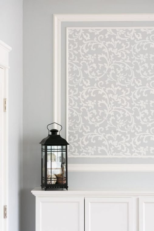 Grey and White Stenciled Accent Wall