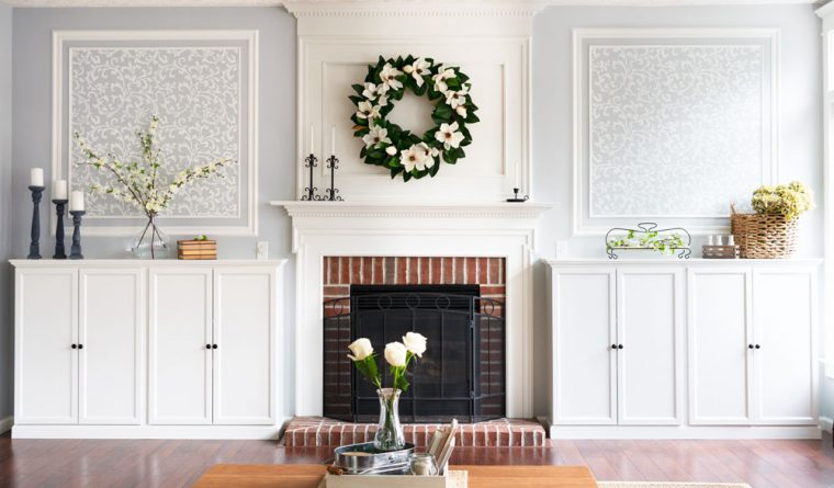 Picture Framed Molding above Fireplace Built-Ins in a Living Room.