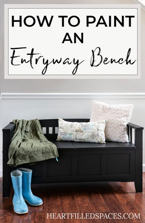 Painted Black Entryway Bench