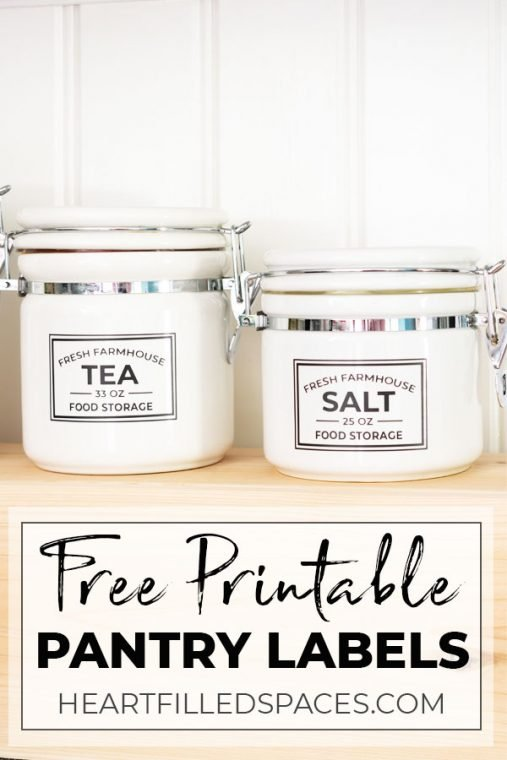 White farmhouse canisters with free pantry labels.
