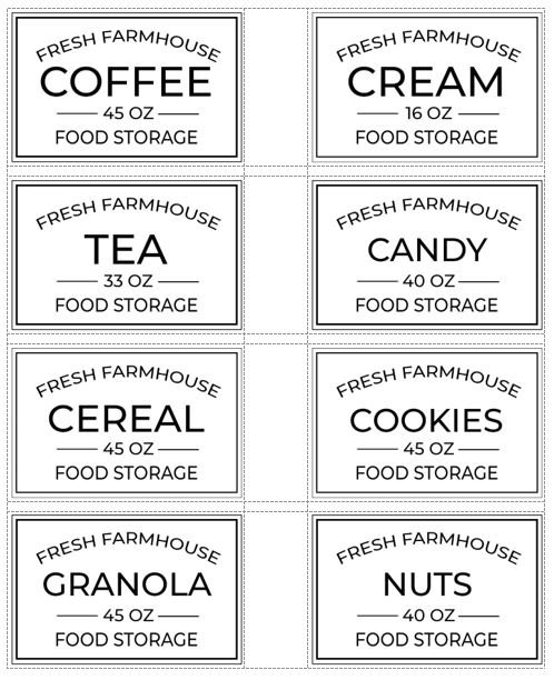 Black and white farmhouse free printable pantry labels.