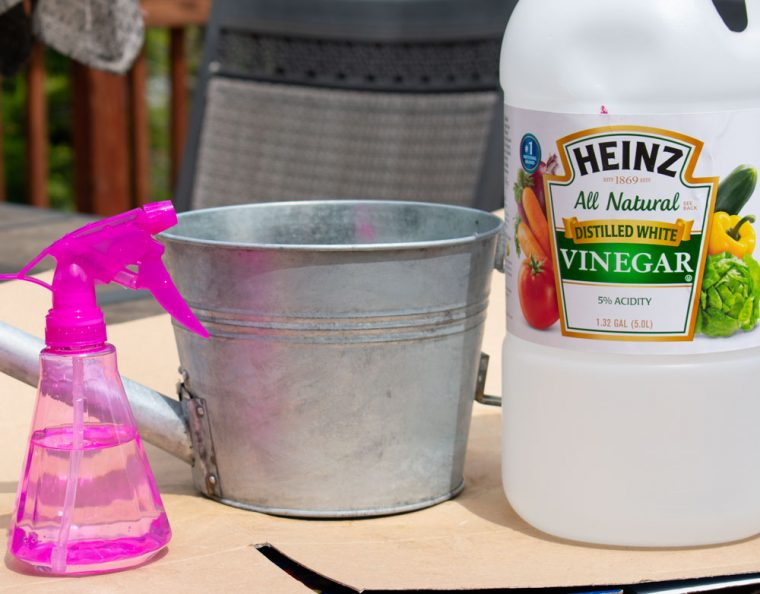 Use household products to age galvanized metal.