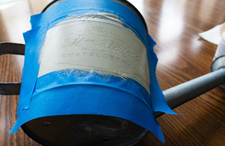 How to Stencil Paint on a galvanized watering can.