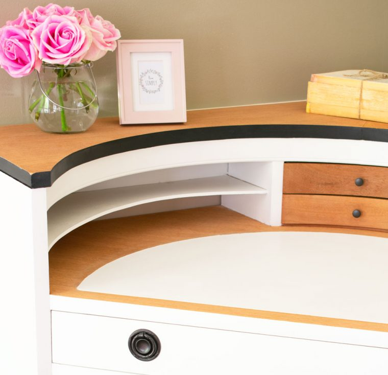 Beautifully refinished antique corner desk.