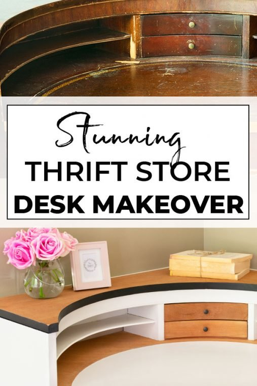 Before and After thrift store corner desk makeover.