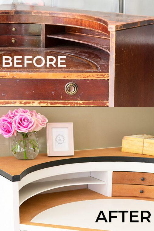Before and After Corner Desk Makeover