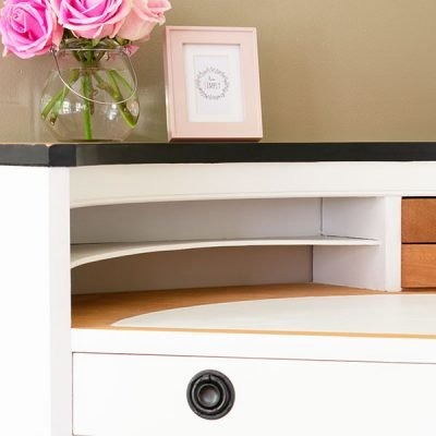 Vintage Thrift Store Corner Desk Gets a Stunning Two-Tone Makeover