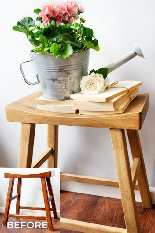 Natural wood finish, using antiquing wax, on a saddle stool for a french country look.