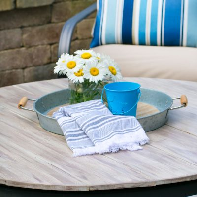 Patio Furniture Makeover With A Wood Plank Tabletop & Spray Paint
