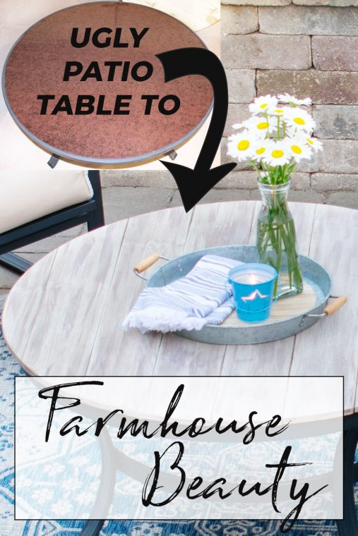 DIY Wood Plank Patio Furniture Tabletop