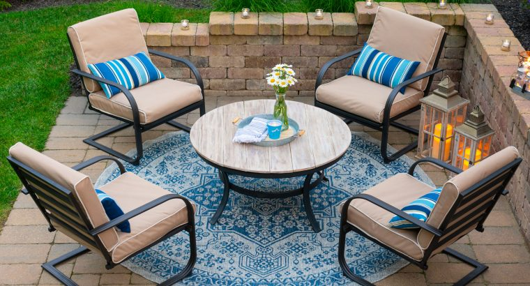 Blue and white patio update on a budget.