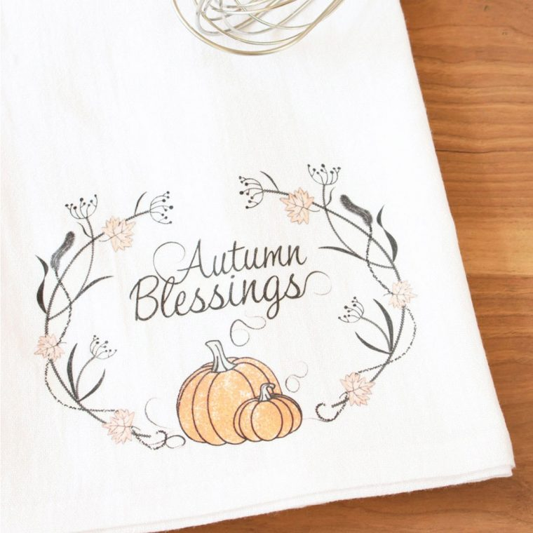 DIY Fall Teal Towels with Heat Transfer Paper