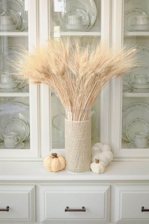 Natural wheat in a vase for dining room Thanksgiving decor.